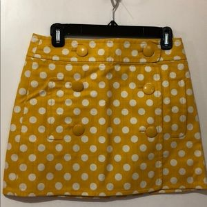 Yellow & white Polka dot skirt